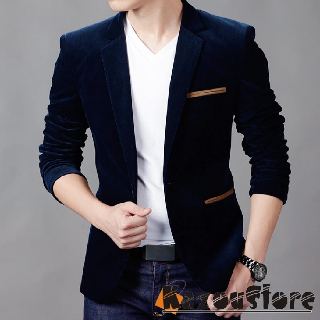 پیراهن مجلسی مردانه لیورپول Jas Pria Mens Fashion Slim Fit Stylish Casual Dress Suit Blazer Coats Jackets - Navy Blue - Kode : JP-e89 - Ezyhero